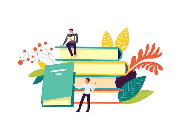 Boeken en mensen die publicatiesdecor lezen geïsoleerd Premium Vector