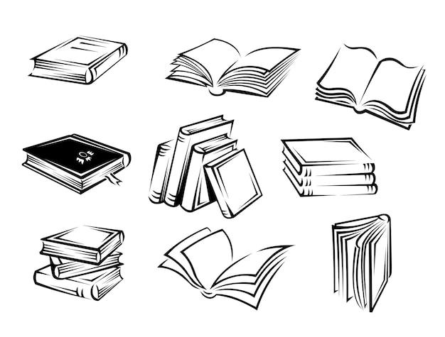 Boeken en tijdschriften Premium Vector