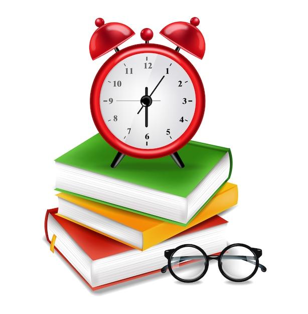 Boeken en wekker Premium Vector