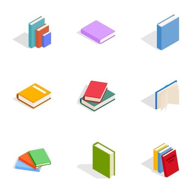 Boeken iconen set, isometrische 3d-stijl Premium Vector