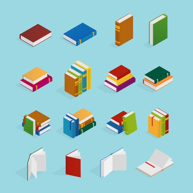 Boeken isometrische icons set Gratis Vector