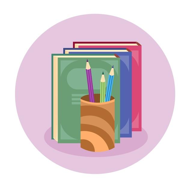 Boeken stack pen potlood kleurrijke web icon Premium Vector