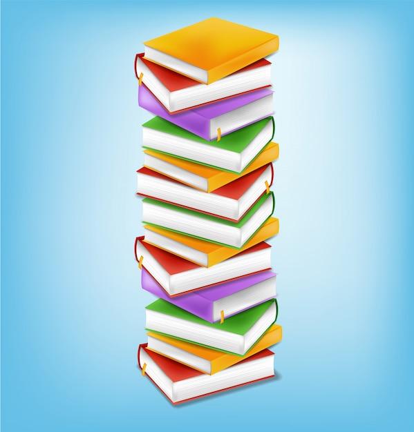 Boeken stapel illustratie Premium Vector