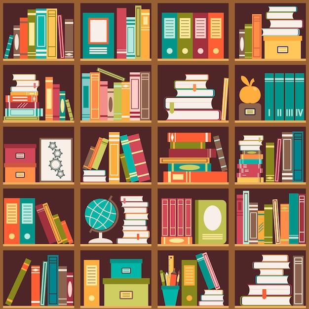 Boekenplank met boeken. naadloze achtergrond Premium Vector