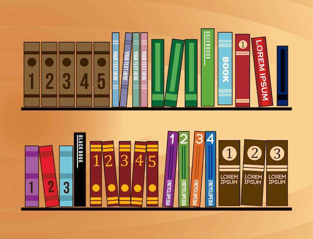 Boekenplank van houten met boeken vectorillustratie Premium Vector