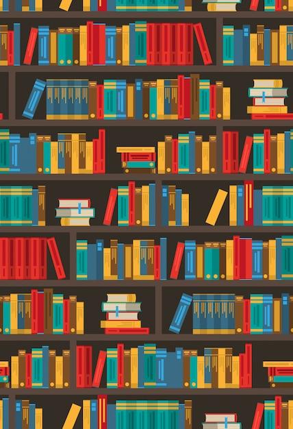 Boekenrekken dtcorative kleurrijke pictogram poster Gratis Vector