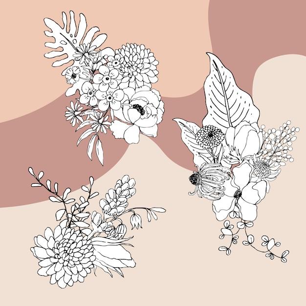 Boeket bloemen lijntekeningen tropial.decoratieve bloeiende planten. Gratis Vector