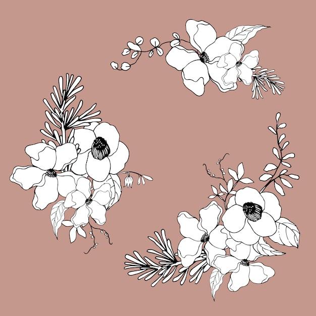 Boeket bloemen lijntekeningen tropische. decoratieve bloeiende planten. Gratis Vector