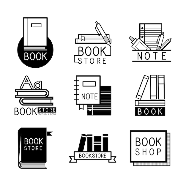 Boekhandelemblemen en teken vastgestelde vector Gratis Vector