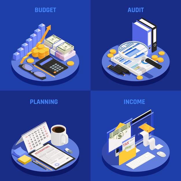 Boekhoudkundig isometrisch ontwerpconcept met budget- en auditplanning en inkomen blauw Gratis Vector