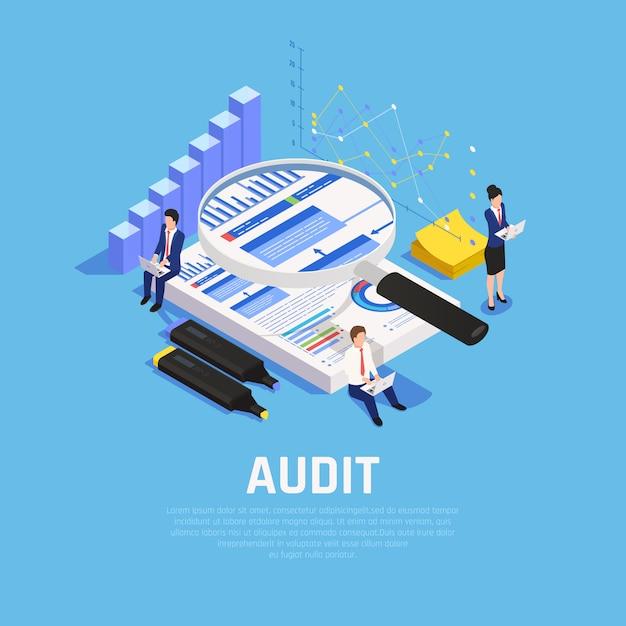 Boekhoudkundige isometrische samenstelling met grafieken documentatie en menselijke karakters tijdens audit op blauw Gratis Vector