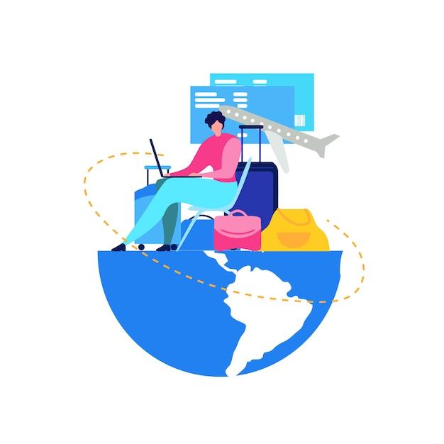 Boeking vliegtickets online flat vector concept Gratis Vector