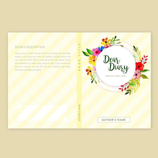 Boekomslag ontwerp met aquarel bloemenrand Gratis Vector