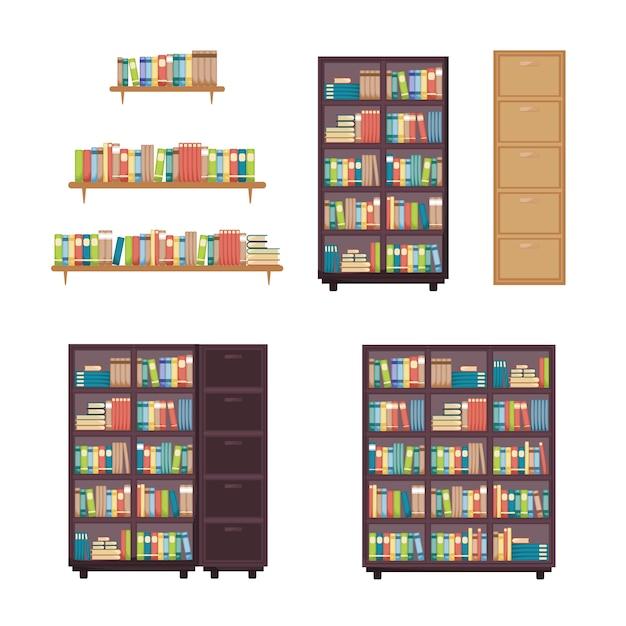 Boekstapel op boekenplank boekenrek rackmeubilair Premium Vector