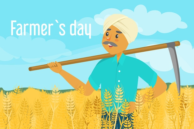 Boer dag. gelukkig aziatische boer staande op het tarweveld en zeis te houden. Premium Vector