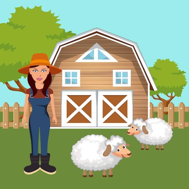 Boer in de boerderij scène Premium Vector