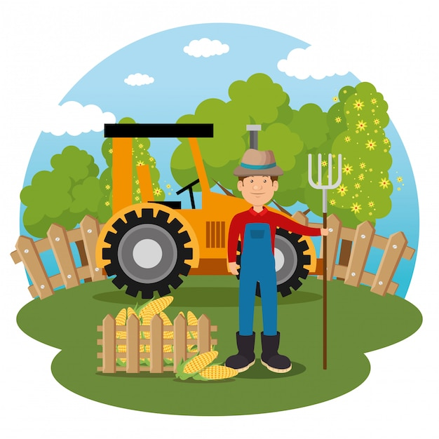 Boer in de boerderij scene Gratis Vector