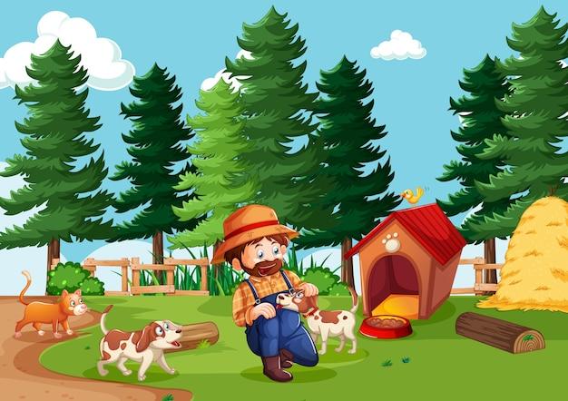 Boer met dierenboerderij in boerderijscène in cartoon-stijl Gratis Vector