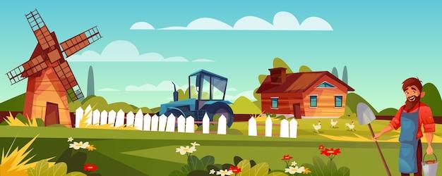 Boer of boer illustratie van man met baard en schoppen op landbouwgrond. Gratis Vector