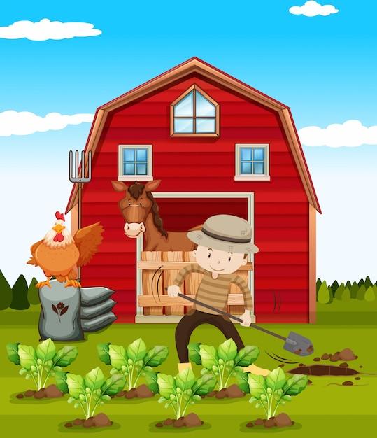 Boer werkt op de boerderij Gratis Vector