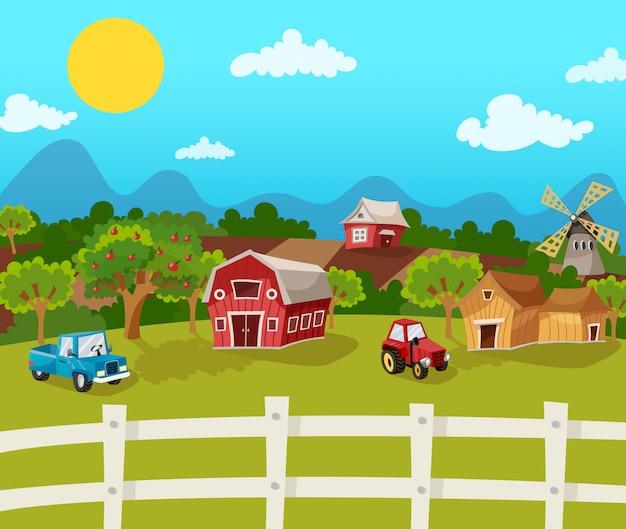 Boerderij cartoon achtergrond Gratis Vector