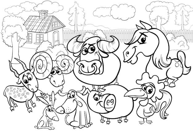 Kleurplaten Dieren Op De Boerderij.Boerderij Dieren Cartoon Kleurplaat Vector Premium Download