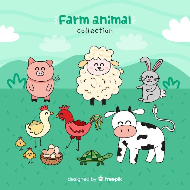 Boerderij dieren collectie Gratis Vector