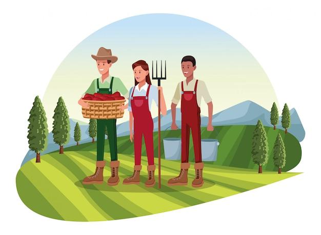 Boerderij, dieren en boer cartoon Premium Vector