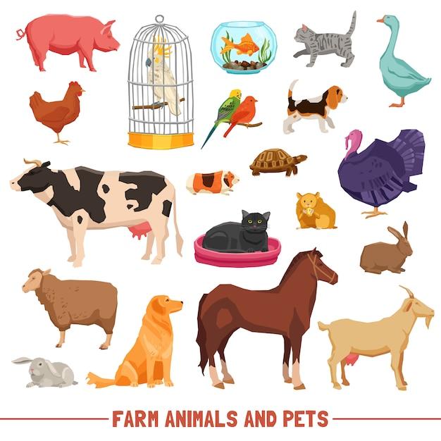 Boerderij dieren en huisdieren set Gratis Vector