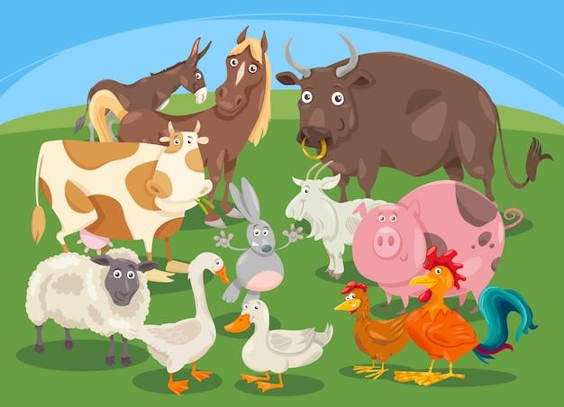 Boerderij dieren groep cartoon Premium Vector