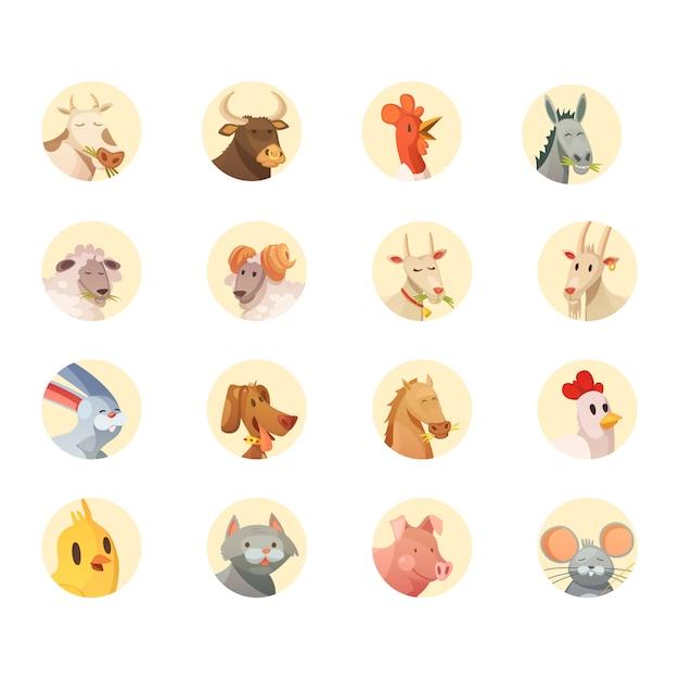 Boerderij dieren hoofden ronde iconen collectie Gratis Vector