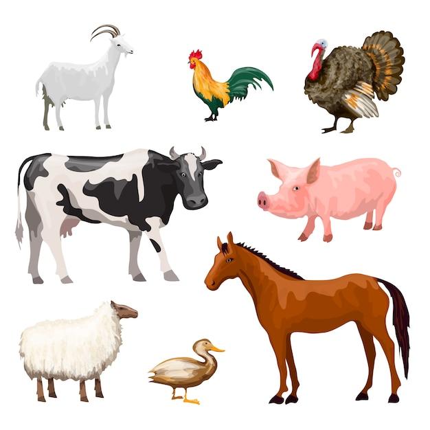 Boerderij dieren instellen Gratis Vector
