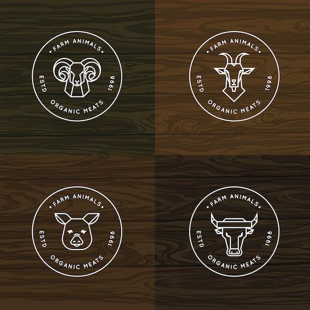 Boerderij dieren logo of badge set Premium Vector