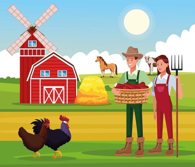 Boerderij landelijke tekenfilms Premium Vector