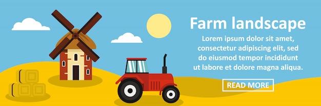 Boerderij landschap banner horizontaal concept Premium Vector