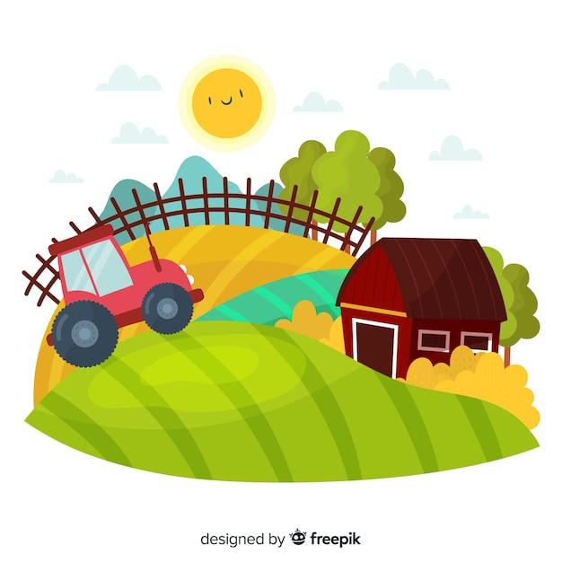 Boerderij landschap Gratis Vector