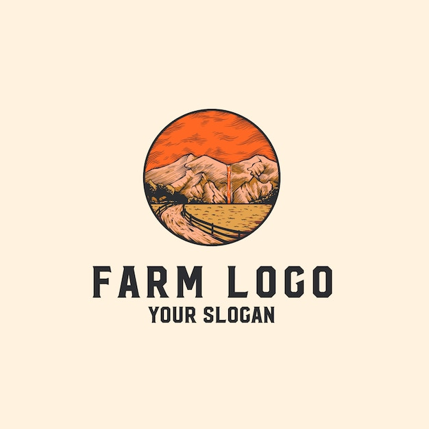 Boerderij logo met bergen Premium Vector