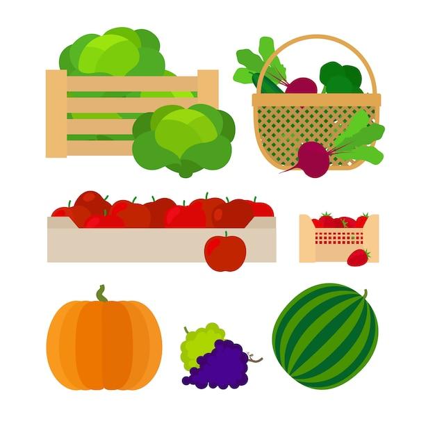Boerderij manden met groenten en fruit vectorillustratie Premium Vector