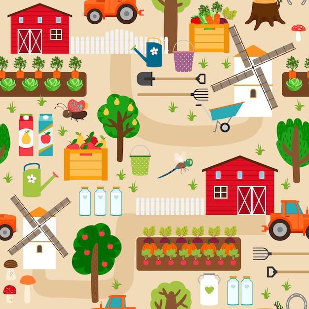 Boerderij met tractor en perken, appelbomen en molen, perenbomen en groentebedden. Gratis Vector