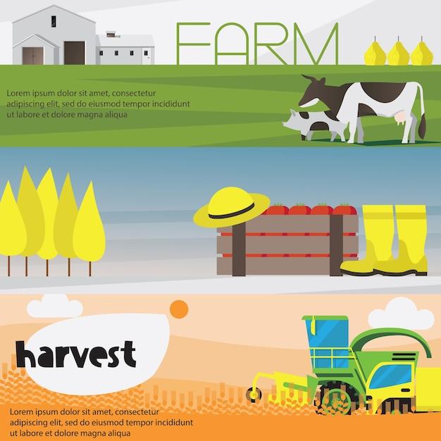 Boerderij oogst horizontale banners geplaatst geïsoleerd Gratis Vector