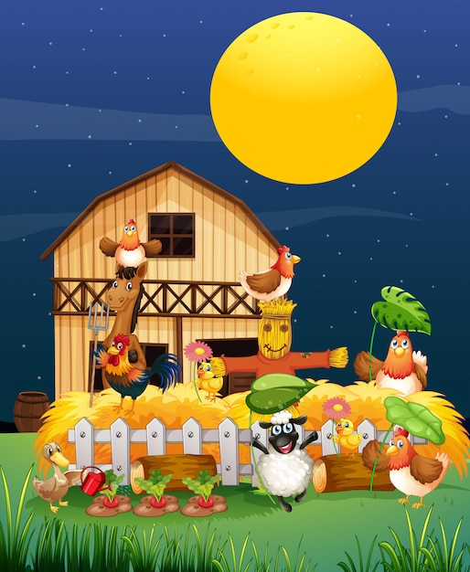 Boerderij scène met dierenboerderij bij nacht cartoon stijl Gratis Vector