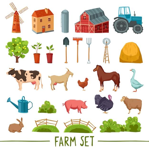 Boerderij veelkleurige pictogramserie Gratis Vector
