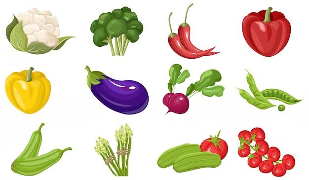 Boerderij verse groente collectie Premium Vector