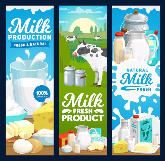 Boerderij zuivelproducten en zuivelproducten banners, boerderijvoeding Premium Vector