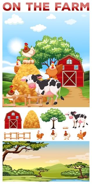 Boerderijdieren die in de boerderijillustratie leven Gratis Vector