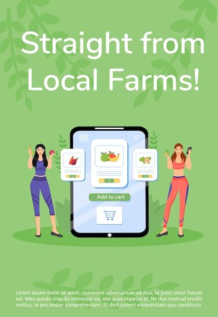 Boerderijproducten online bestellen poster platte sjabloon. groenten en fruit kopen mobiele app-brochure, boekje conceptontwerp van één pagina met stripfiguren. verse groenen flyer, folder Premium Vector