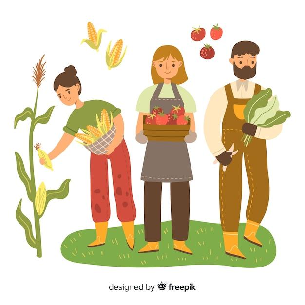 Boeren doen landbouwwerk samen Gratis Vector