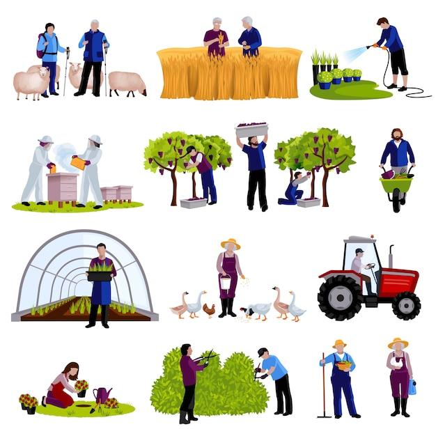 Boeren en tuinders werken op momenten dat ze vruchten oogsten om vee te fokken en planten plat pictogrammen te trimmen Gratis Vector