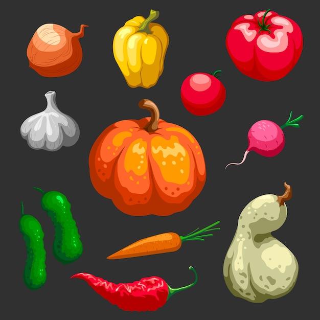 Boeren groenten decoratieve icons set Gratis Vector