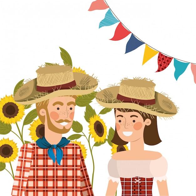 Boeren koppelen praten met strooien hoed Gratis Vector